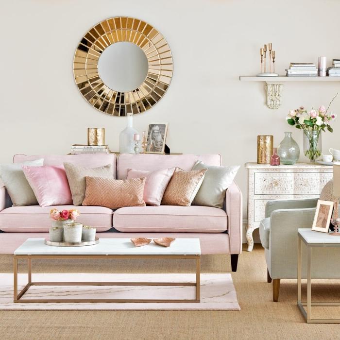 0 wandfarben ideen wohnzung dekorieren wohnzimmer gestalten sonnenspiegel als wanddeko zimmer streichen zimmergestaltung in rosa und weiß