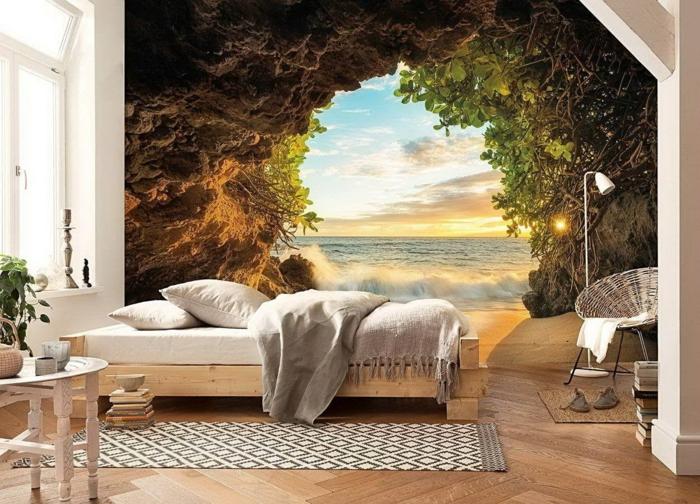 3 fototapeten für schlafzimmer große fototapete natur meer strand schlafzimmereinrichtung ideen wanddeko dekoration
