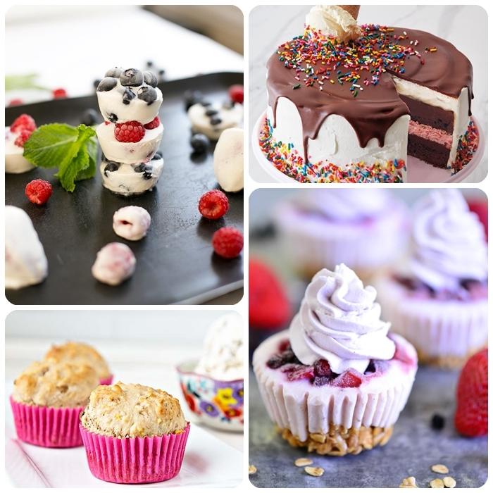 4 party essen ideen leckere rezepte eiscreme torte joghurt cupcakes muffins mit vanille einfacher nachtisch