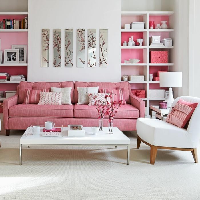 4 wohnzimmer ideen wandgestaltung feminine einrichtung in rosa und weiß wohnzimmerdeko ideen kleines zimmer streichen