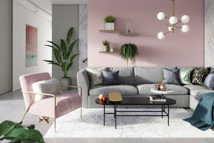 4 wohnzimmer ideen wandgestaltung moderne einrichtung in grauund rosa zimmerdeko ideen wohnzimmerdeko zimmer streichen