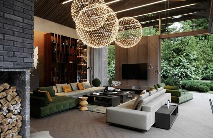 4 wohnzimmer ideen wandgestaltung wohnung einrichten einrichtungsideen designer möbel große pendelleuchten wohnzimmerbeleuchtung