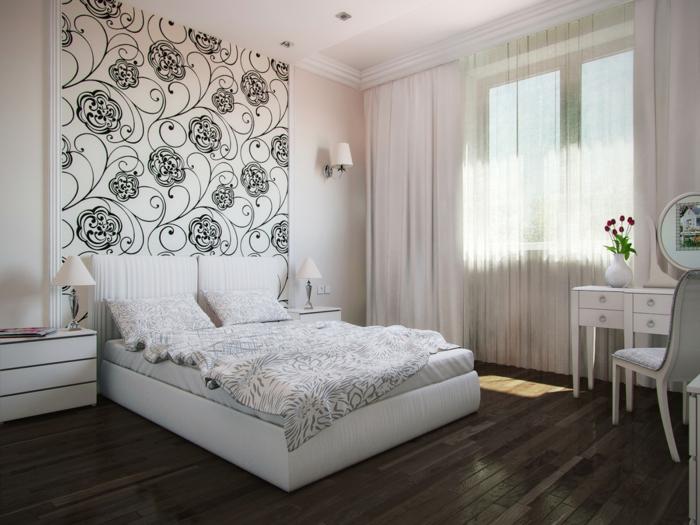 6 fototapeten für schlafzimmer tapete mit floralen motiven zimmereinrichtung in weiß