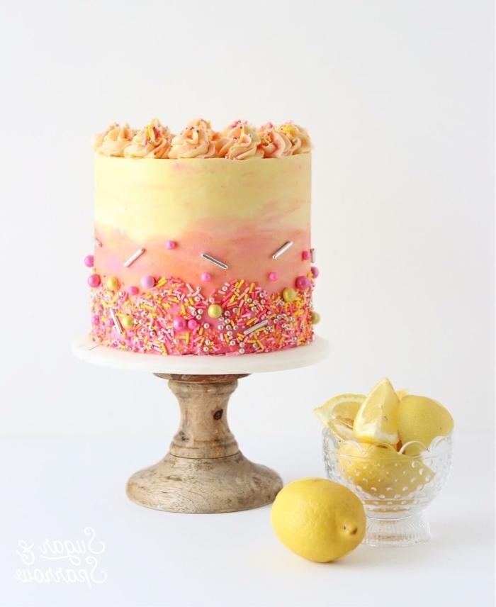 6 kinder kuchen backen leckere torte mit zitronen tortendeko in ombre look geburtstagskuchen mit buttercreme dekorieren