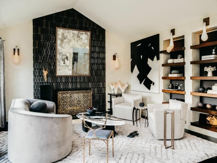 außergewöhnliche wandgestaltung wandfarbe trend 2020 wohnzimmer luxuriöse zimmereinrichtung designer möbel wohnzimmergestasltung in weiß und schwarz
