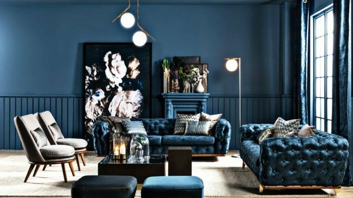 außergewöhnliche wandgestaltung wohnzimmer designer einrichtung in dunkeblau und weiß wohnzimmerbelecuhtung zmmerdeko ideen großes bild