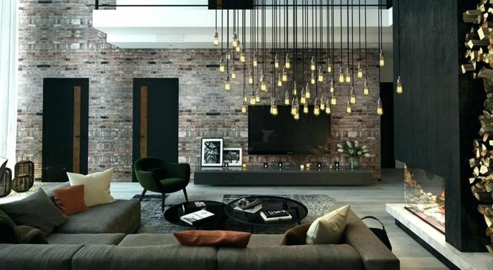 außergewöhnliche wandgestaltung wohnzimmer wohnzimmereinrichtung zimmer einrichten wand gestlten zimmergestaltung in grau wandfarbe trend 2020