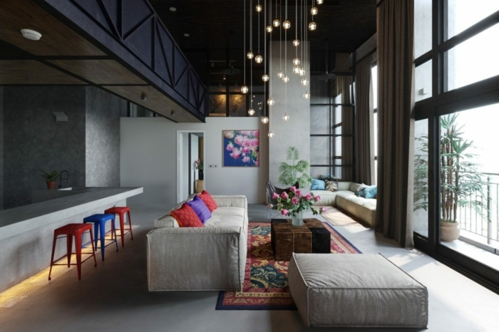 außergewöhnliche wandgestaltung wohnzimmer zimmereinrichtung in grau graue wandfarbe wände streichen ideen
