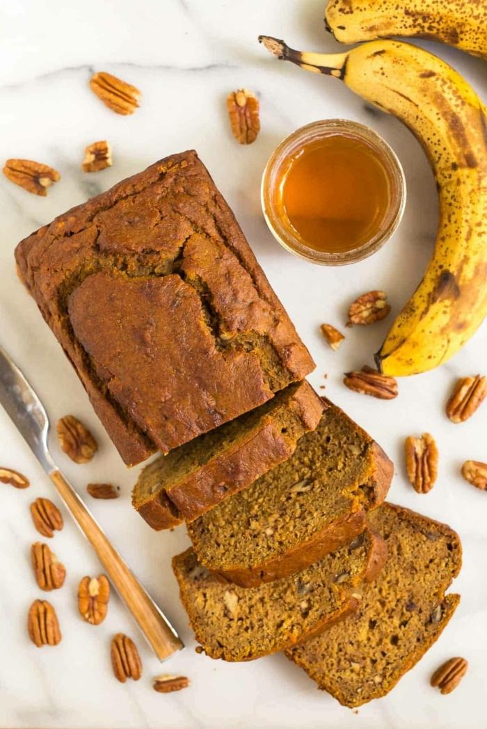 bananenbrot ohne zucker kuchen mit bananen kürbis und honig banana bread