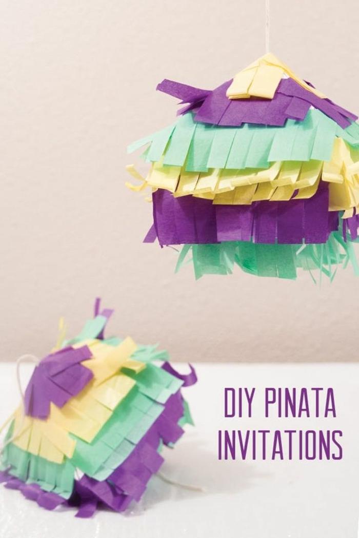 bunte diy pinata einladung kindergeburtstagskarten diy schritt für schritt anleitung einladungskarten für kindergeburtstag