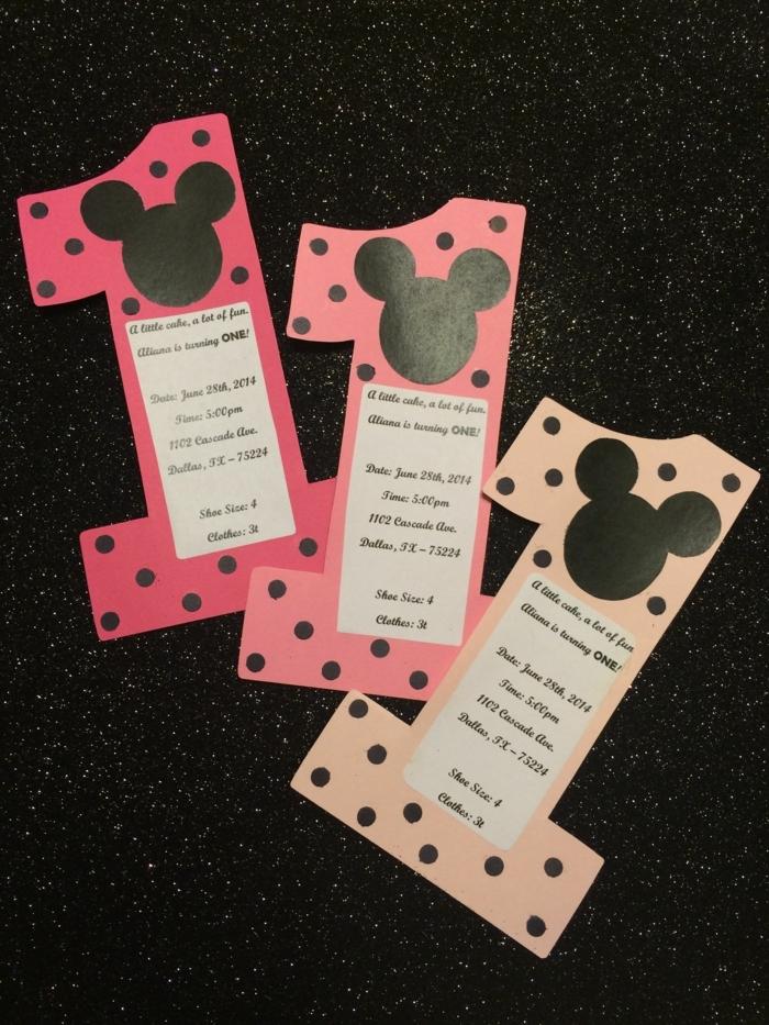 disney isnpiration mickey mouse einladungskarten 1 geburtstag kindergeburtstag originelle ideen basteln
