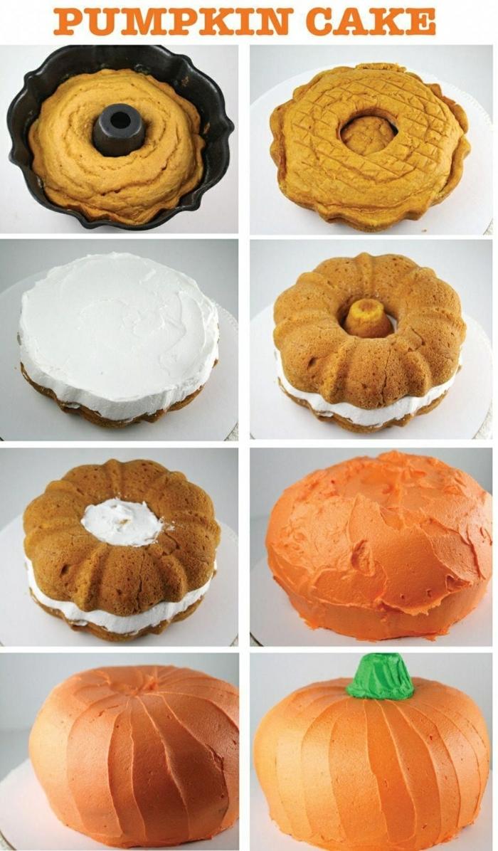 diy anleitung kürbis torte selber machen originelle ideen zum backen ausgefallene kuchen für kindergeburtstag