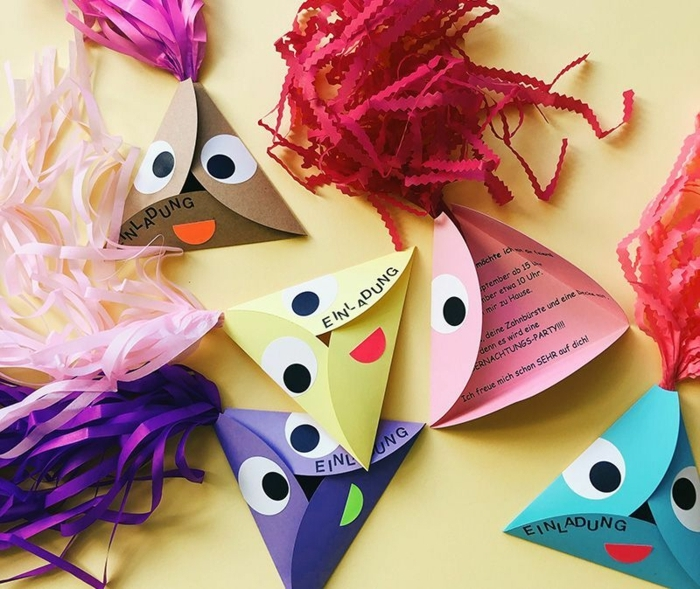 diy bastelideen einladung kindergeburtstag basteln kreative bastelideen verschiedene figuren