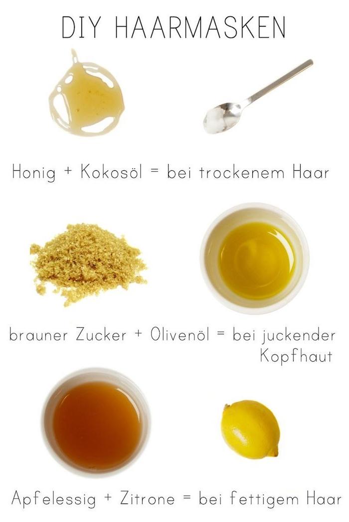 diy haarmasken kokosnussöl haare haarkur mit kokosö und honig olivenöl und brauner zucker apfelessig und zitrone was tun gegen trockene spröde haare
