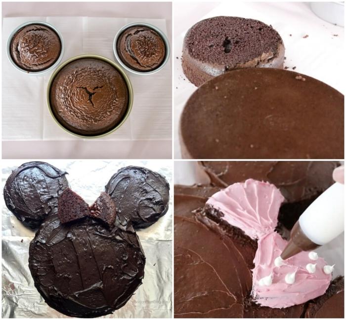 diy schritt für schritt anleitung minnie mouse torte mit pinker schleife ausgefallene kuchen für kindergeburtstag schokoladenkuchen