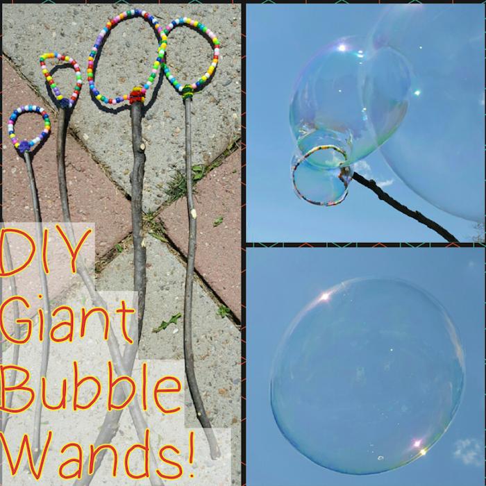 drie bilder mit diy seifenblasenstäbchen mit vielen kleinen bunten künstlichen perlen seifenblasenstäe selber machen