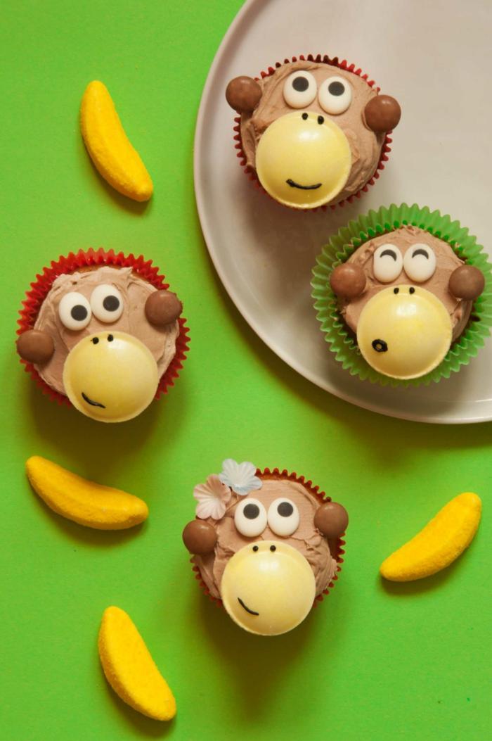 dschungel party geburtstagsfeier lustige kuchen kindergeburtstag affen muffins lustige cupcakes für kindergeburtstag