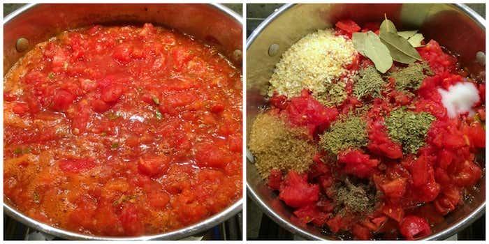 ein topf mit basilikum salz thymian und viele kleine rote gehakte tomaten eine schritt für schritt anleitung für tomaten einkochen