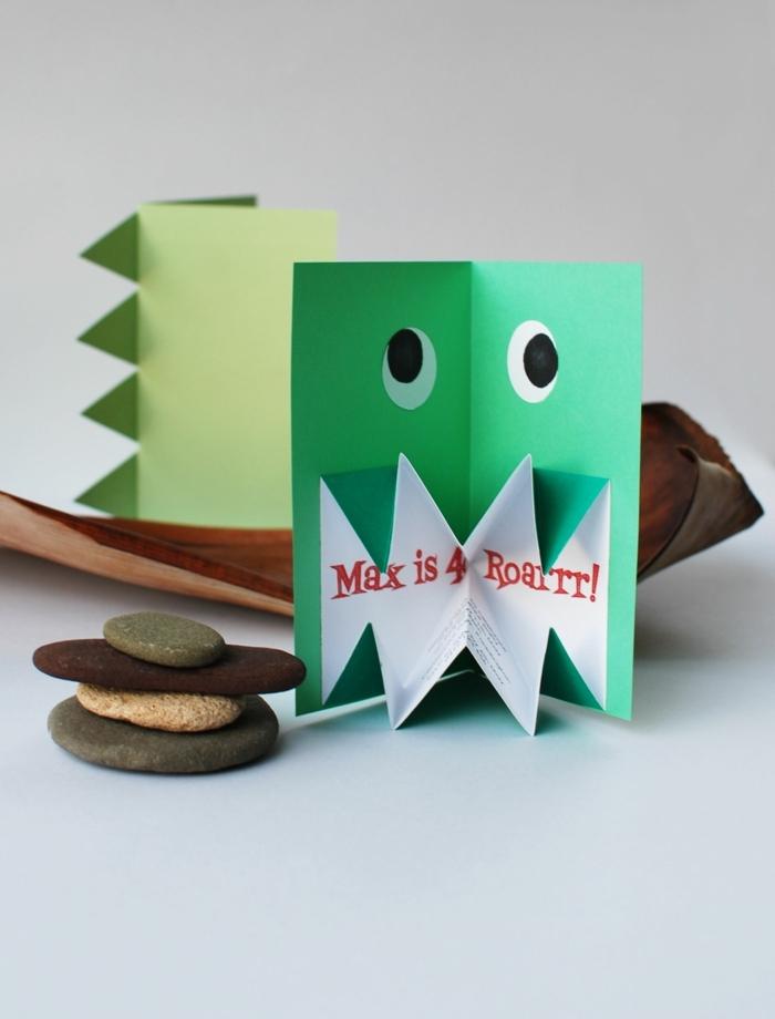 einfache pop up dinosaurier karte einladungskarten kindergeburtstag selber basteln basteln ideen kreativ