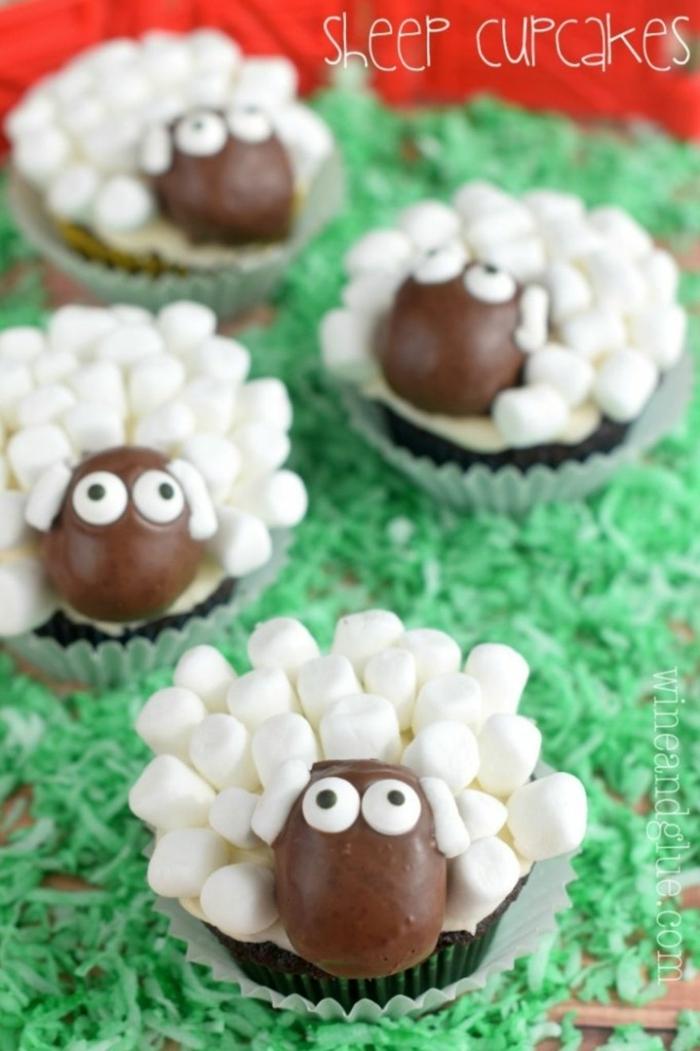 einfache tiere cupcakes ideen muffin rezept kinder weiß braune schafe lustige muffins für kindergeburtstag