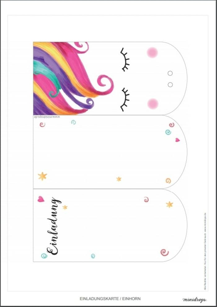 einhorn einladung kindergeburtstag basteln vorlagen diy einladungskarten geburtstag kind