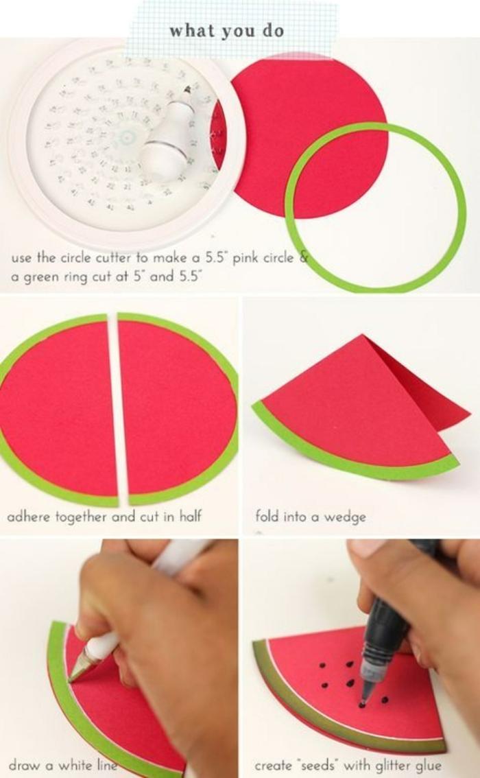 einladungskarten geburtstag kinder selber basteln diy anleitung schritt für schritt anleitung wassermelone karte