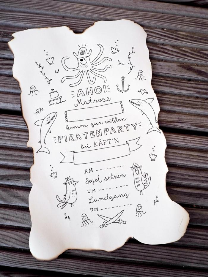 einladungskarten kindergeburtstag zum ausdrucken jungs piratenparty originelle ideen einladungen