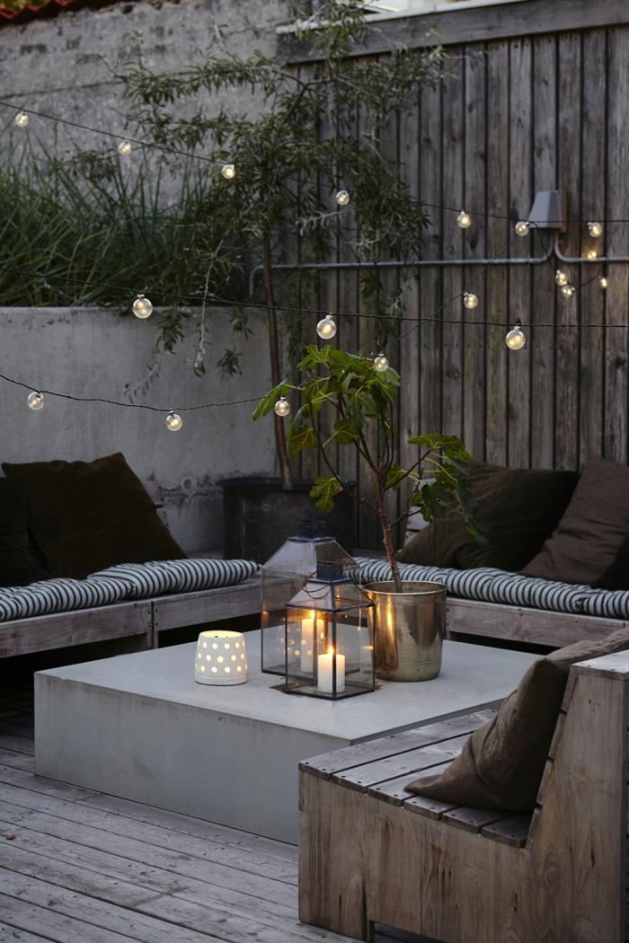 einrichtung garten im industrialen stil gartengestaltung sichtschutz beispiele beleuchtung mit hängeleuchten