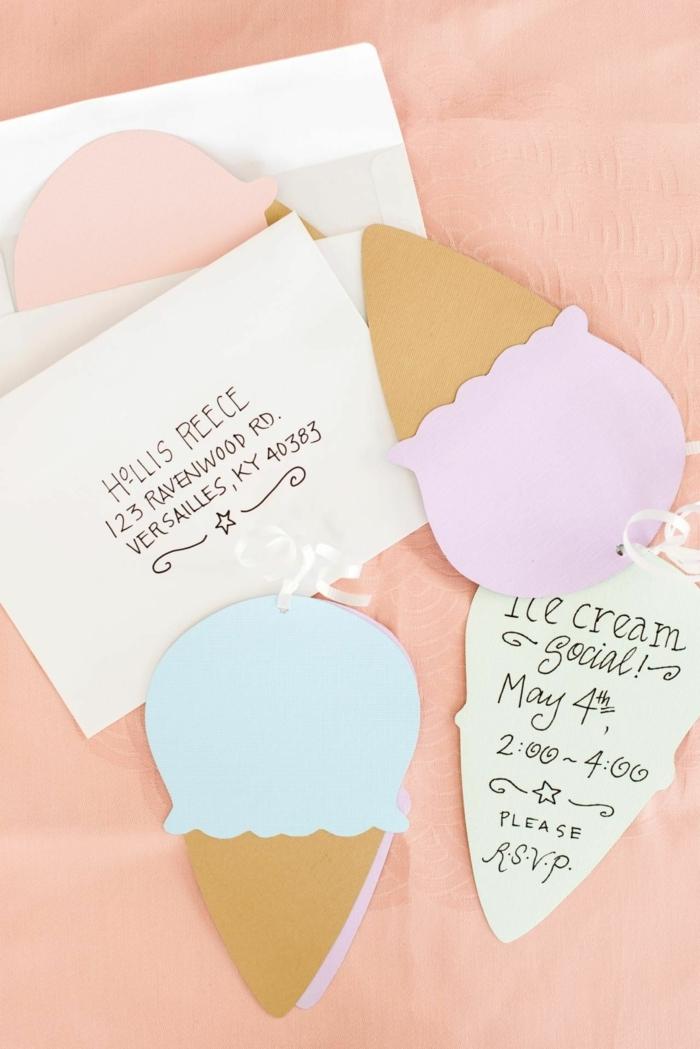 eiscreme geburtstagseinladung kinder basteln einladungskarten kindergeburtstag selber basteln diy ideen