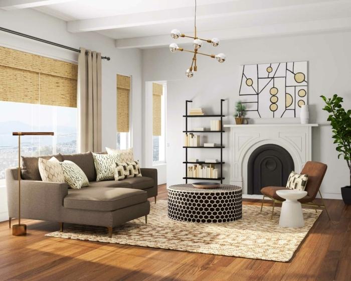 farben für wohnzimmer wohnung einrichten beispiele weiße wände boden aus holz graue sitzmöbel runder kaffeetisch