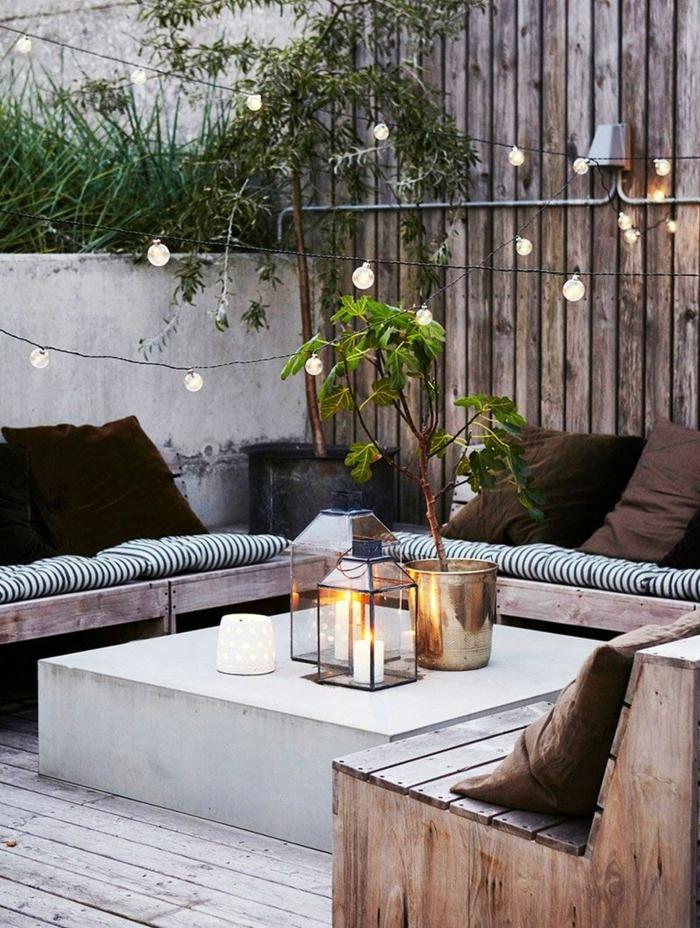 gartengestaltung beispiele bilder sichtschutz holz zaun einrichtung im modernen stil kleine hängeleuchten