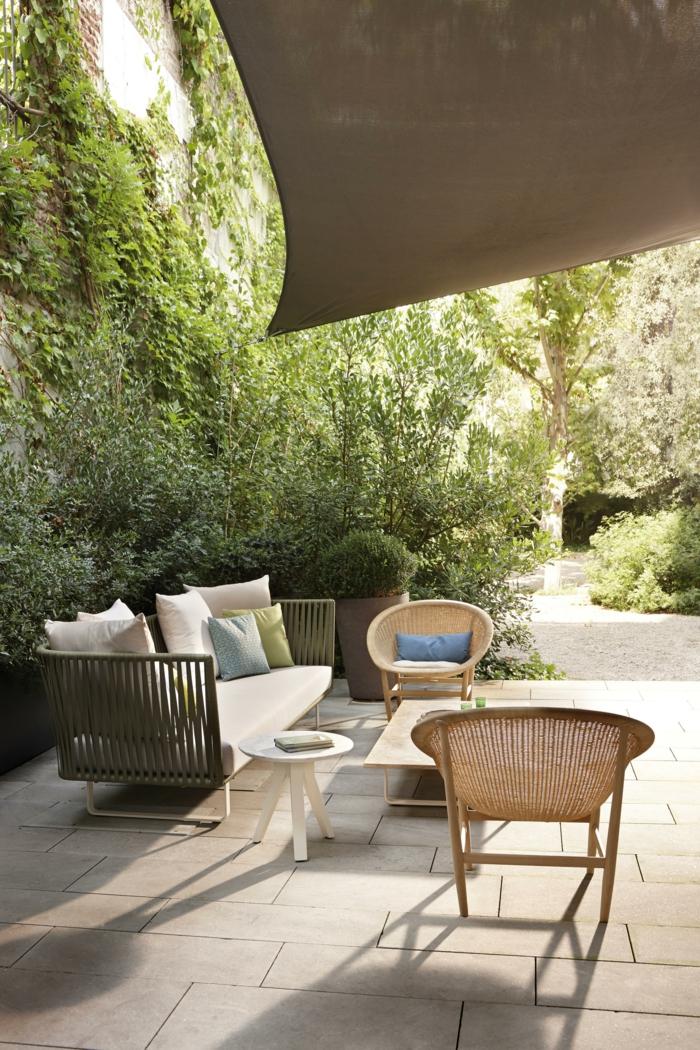 gartengestaltung sichtschutz beispiele mit pflanzen garten gestalten modern elegante gartenmöbel