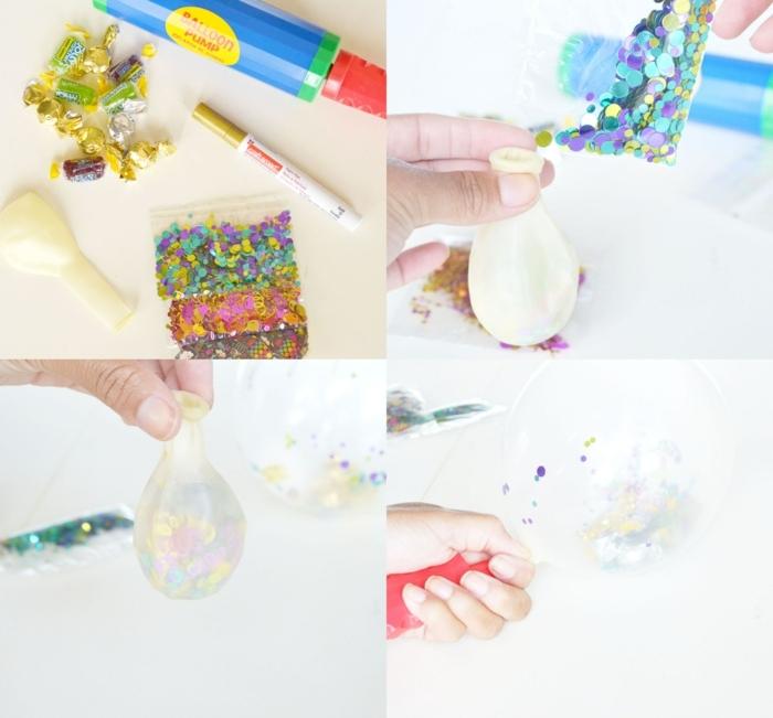 geburtstagseinladung kinder basteln luftballon gefüllt mit konfetti diy anleitung schritt für schritt