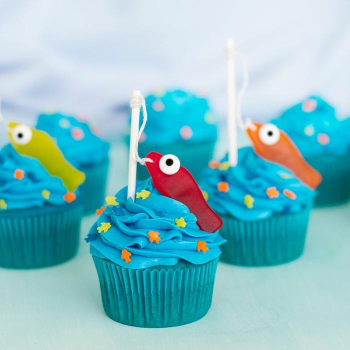 geburtstagskuchen kinder meer und fische cupcakes lustige muffins für kindergeburtstg rezepte zum backen