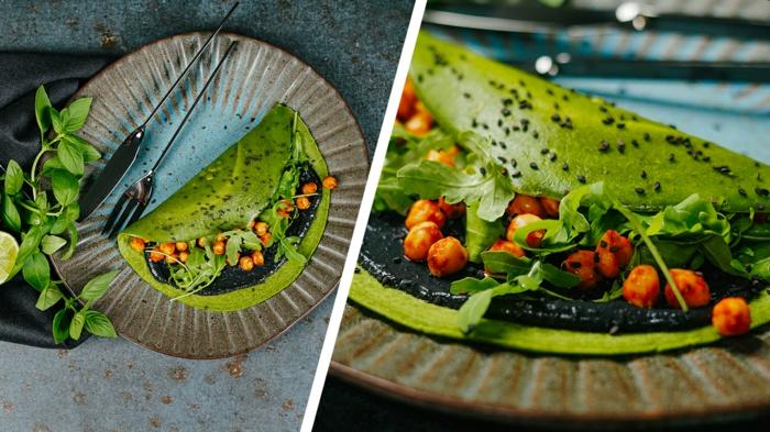 grüne pfannkuchen selber machen archzine rezepte halloween pancakes rezept mit kichererbsen tahini und rukola