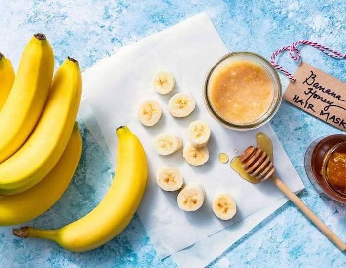 haarkur diy mit banane und honig haarmaske selber machen für schöne haare feuchtigkeitspendende maske haar