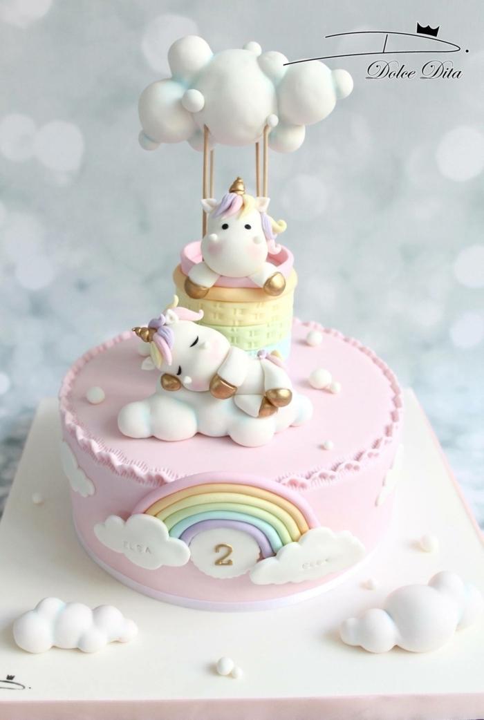 kinder kuchen backen regenbogen tortendeko torte zum geburtstag kind wolken einhorn unicorn torten für kindergeburtstag zum selbermachen