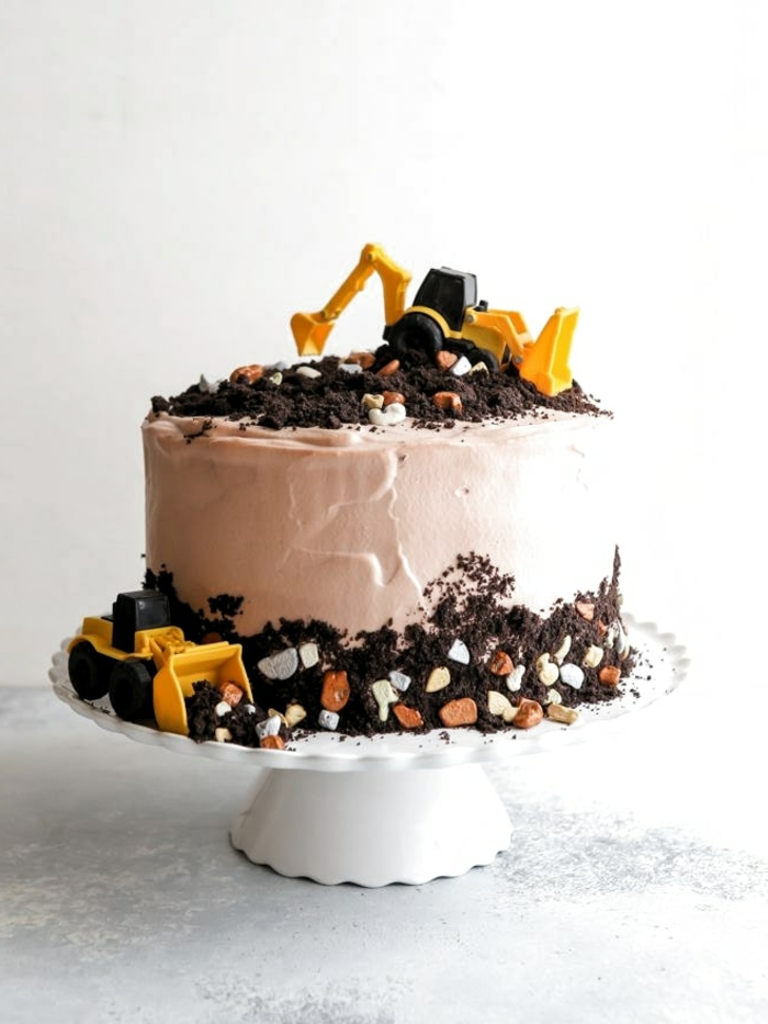 kindergeburtstagstorte für jungs rezepte originelle idee schokoladenkuchen dekoration bagger geburtstaskuchen