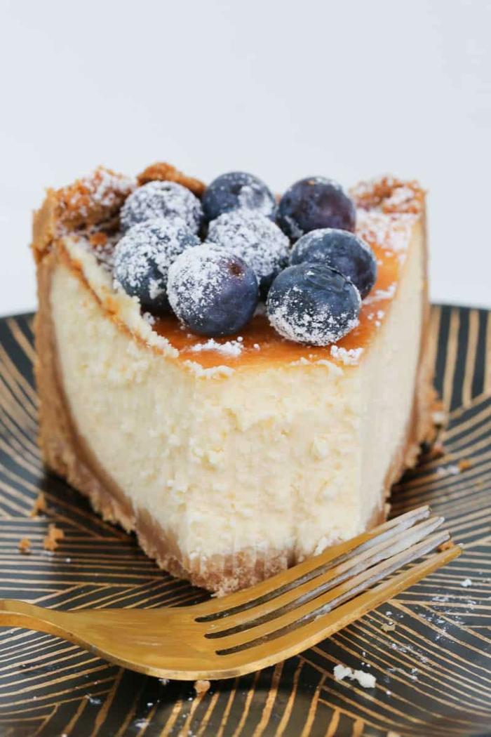 klassischer new york käsekuchen mit blaubeeren einfache kuchenrezepte backen cheesecake