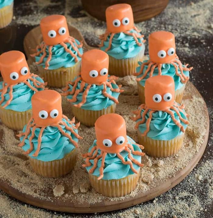 kraken cupcakes meerestiere ideen lustige kindergeburtstag muffins backen leckere rezepte