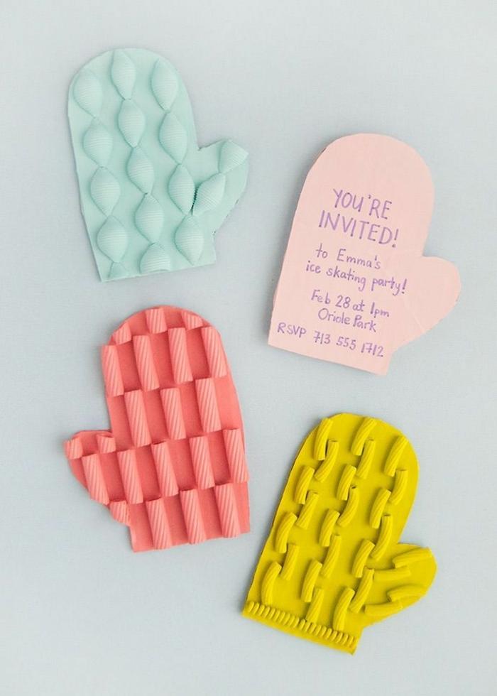 kreative einladungskarten geburtstag kinder bunte fäustlinge mit nudeln originelle bastelideen kindergeburtstag