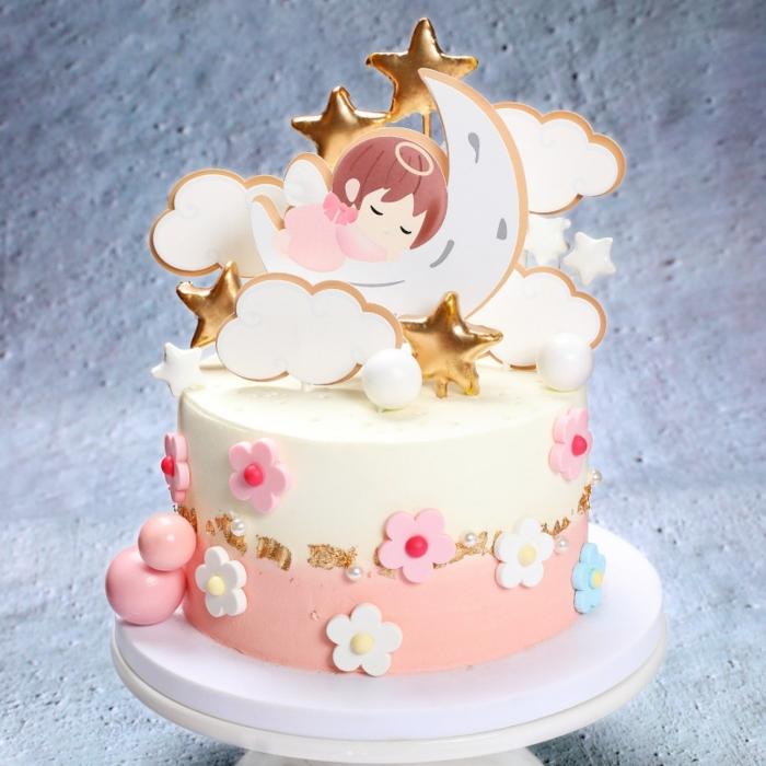 kuchen für kindergeburtstag torte für mädchen geburtstagskuchhen dekoideen deko mit fondant sterne mond blüten