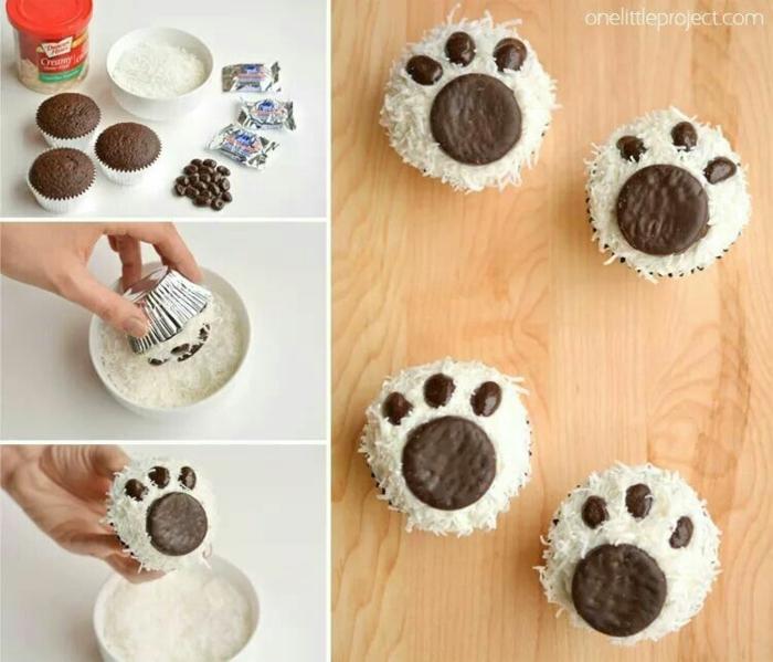 leichte cupcakes kinder muffins bär pfoten verzieren mit keksen und kokosnussflocken diy anleitung schritt für schritt