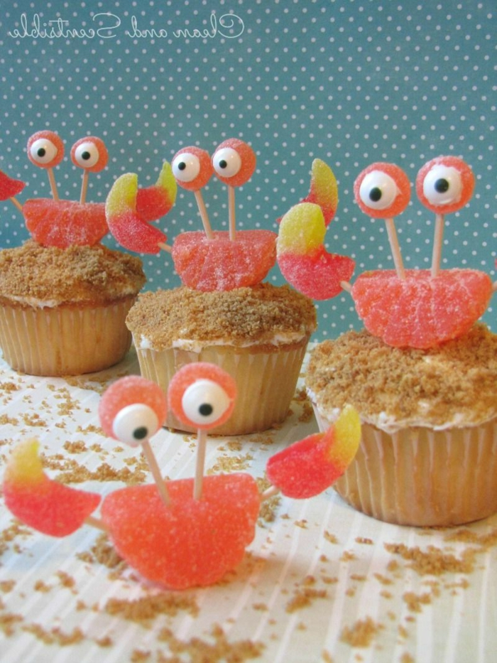 meerestiere cupcakes muffins verzieren für party kindergeburtstag lustige ideen für muffins leckere rezepte