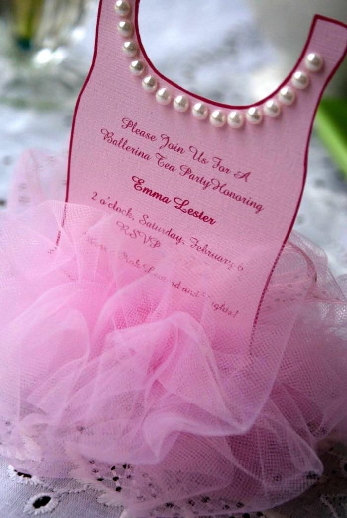 originelle kindergeburtstagskarten pinkes ballerina kleid mit weißen perlen geburtstasparty mädchen ideen