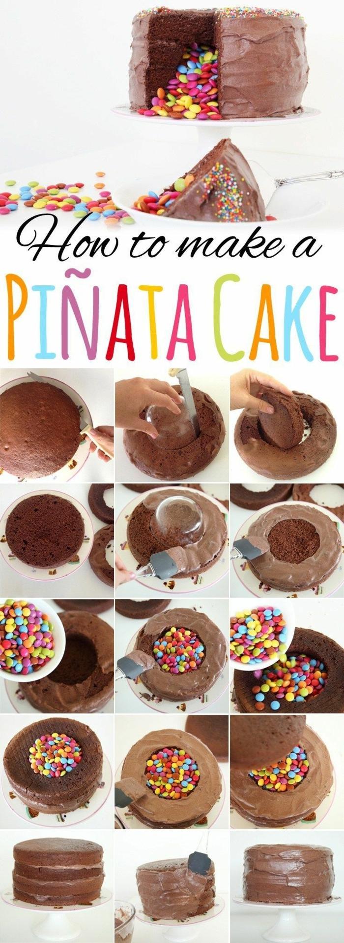 pinata kuchen diy anleitung schritt für schritt schokoladenkuchen gefüllt mit bonbnons geburtstagstorte selber machen