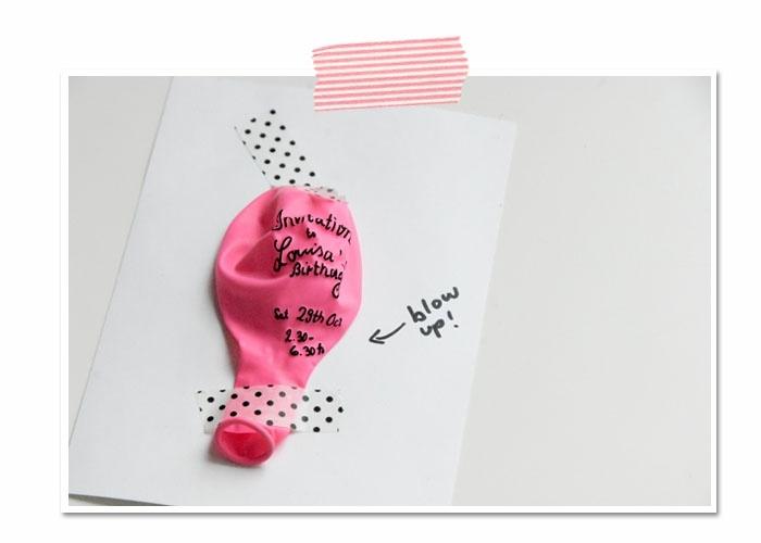 pinker luftballon kreative bastelideen einladungskarten kindergeburtstag selber basteln