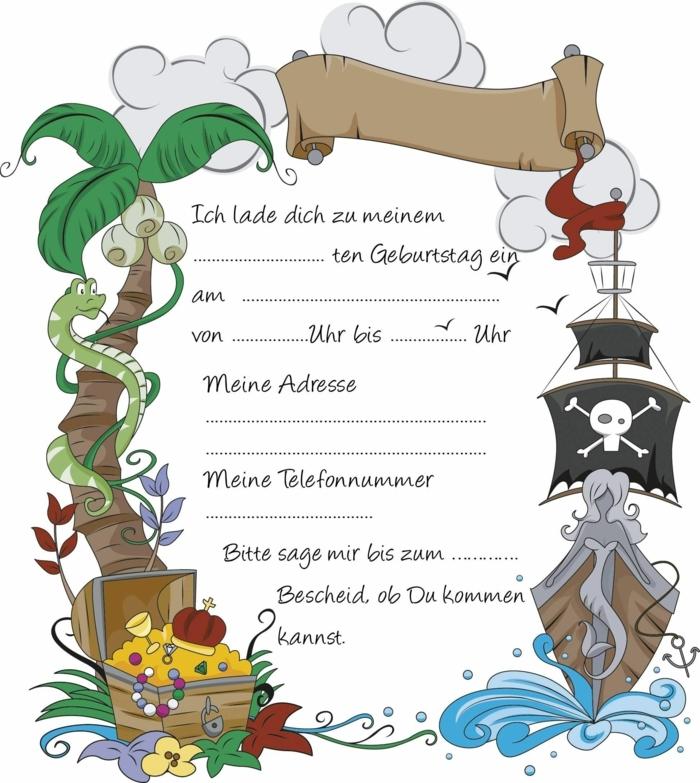 piratenparty einladungskarten kindergeburtstag zum ausdrucken jungs vorlagen einladung geburtstagsparty