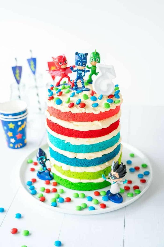 pj mask pyjamahelden party motto große bunte torte kuchen zum kindergeburtstag selber backen rezept