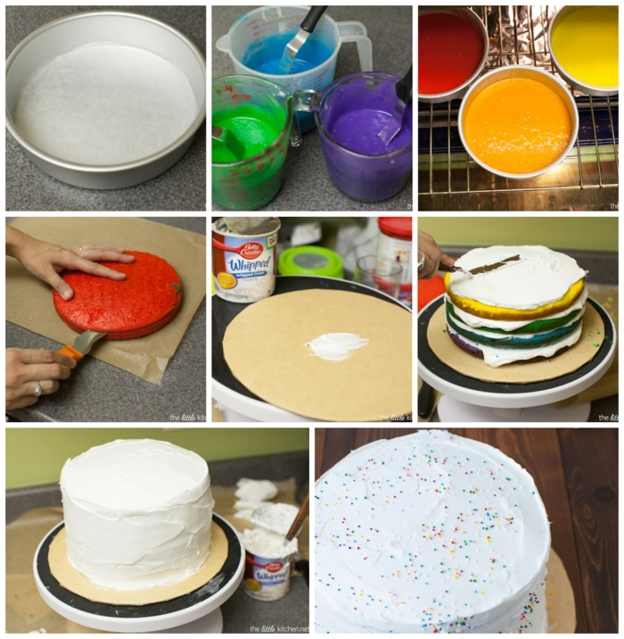 regenbogentorte rezept leicht schritt für schritt anleitung diy backen torten für kindergeburtstag zum selbermachen